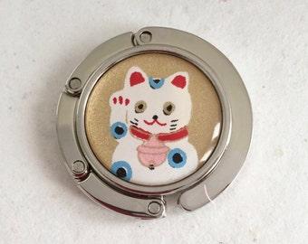 Foldable PURSE HOOK Portable handbag hanger Resin or Glass sealed beautiful Japanese  washi paper manekineko Lucky Cat w gift envelope