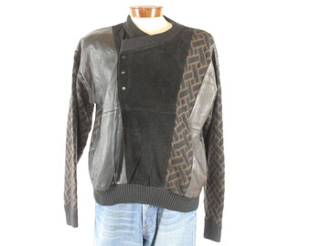 Vintage 80s Leather Sweater Black Brown Patterned Knit Pullover Long Sleeve Shirt Jacket 1980s Mens Size XL X-Large Saxony