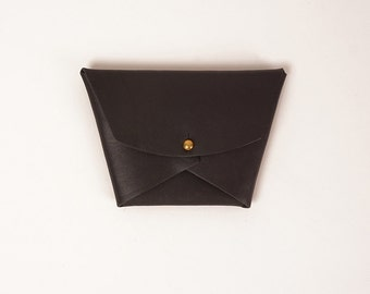 Black leather geometric wallet | EMMA