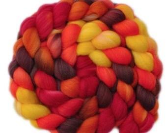 Hand painted wool roving - Superwash Merino Wool / Nylon  85/15% spinning fiber - 4.0 ounces - Southwest Afternoon 2