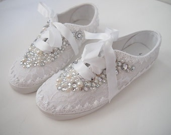 Wedding Bridal Sneakers Tennis Shoes - chic white lace or Ivory cream - Rhinestone Pearls - eyelet trim - Shabby vintage inspired