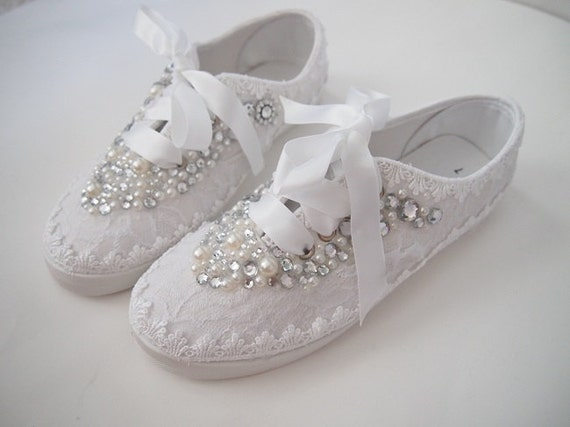 wedding bridal sneakers tennis shoes chic white lace or