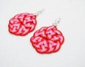 Pink and red earrings, statement earrings, sakura earrings, pink earrings, knot earrings, japanese knots, macrame earrings, gift idea