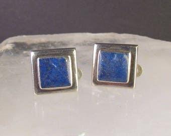 Thick Lapis Lazuli and 925 Sterling Silver Clip Earrings