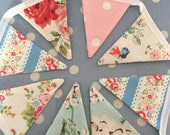 Cath Kidston  cotton fabric mini  bunting,banner,flag,pennant,wedding,garden,event,baby shower,garden,part party flags
