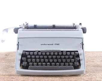 Underwood FIVE Typewriter / Antique Typewriter / Manual Typewriter / Old Underwood Typewriter / Grey Underwood / Office Decor