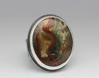 Rocky Butte Jasper Ring, Jasper & Sterling Ring, Unisex, Statement Ring, Warm Tones, Artisan Jewelry, Le Chien Noir, Size 8.25