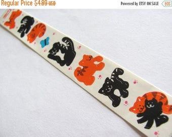 SALE Kitten Vintage Cardesign Toots Sticker Strip - Retro 80's Cat Feline Tabby Tuxedo Butterfly Scrapbook