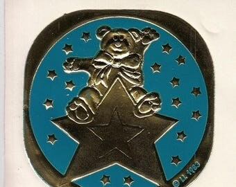 SALE Rare Vintage Illuminations Embossed Foil Bear on a Shooting Star Sticker - 1983 Teddy Bear Gold Turquiose Teal