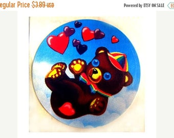 SALE Rare Vintage Lisa Frank Bear Floating in the Clouds of Love Sticker 80's