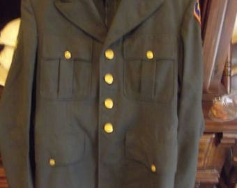 Vintage Army, Navy green Peacoat size 38,
