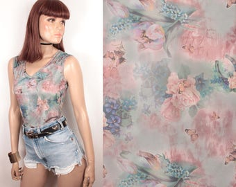 90s butterfly and floral print tank // mesh // sheer back