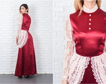 Burgundy + Lace Floral Dress Vintage 60s 70s Sheer Sleeve victorian XXS 8460