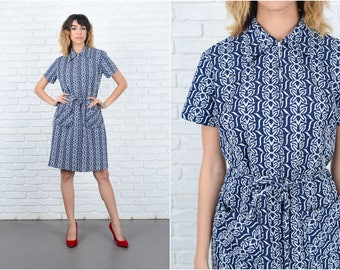 Vintage 60s 70s Navy Blue Mod Dress Abstract Floral Print A-Line Medium M 9246