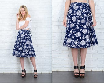 Vintage 80s Navy Blue Wrap Skirt Bird Print Floral A Line Large L 9411
