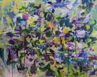 """Large Abstract Wall Art on gallery wrapped canvas """"Greenery"""" 48x36 in original painting"""