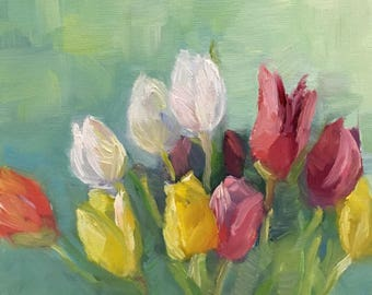 Primary Tulips Small Still Life Oil Painting On Canvas