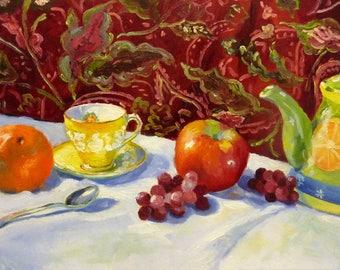 Citrus Tea and Fruit Original Large Still Life Oil Painting on Canvas Framed Art