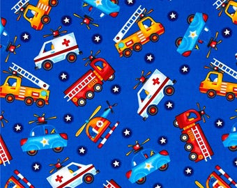 Tossed Rescue Vehicles on Dark Blue from Henry Glass's Be My Hero Collection