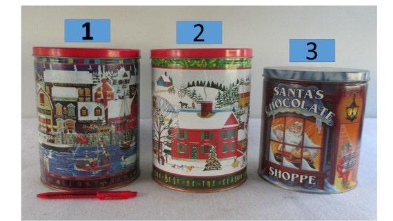 Items similar to christmas tins vintage decorative for Decorating tins for christmas