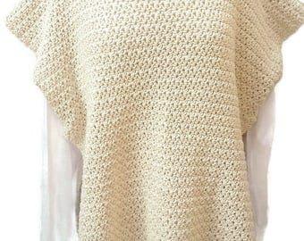 Crochet Poncho, Cotton Poncho, Women Poncho, Boho Poncho, Off White Poncho, No Wool, Boho Style, Accessory, Gift for Her, Beach Cover Up