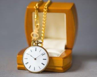 Antique pocket watch solid 14K gold, small cylinder 8 rubis pocket watch, keywind watch chain, roman numeralswomen pocket watch open face