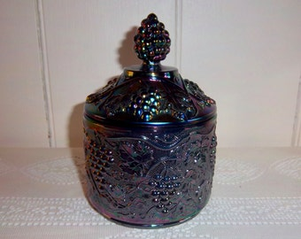 Fenton Iridescent Carnival Glass Covered Candy Dish Bowl Family Signed Mike Fenton