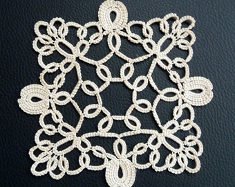 Tatting square doily ivory-home decor-ivory coasters-handmade doily-lace doily-Housewarming-wedding coasters