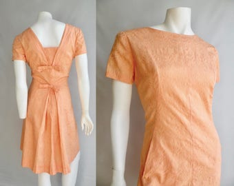 50s Cotton Peach Coral Day Dress with Bows in the Back - L XL