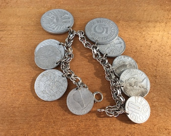 Vintage Aluminum German Coin Bracelet with Sterling Chain