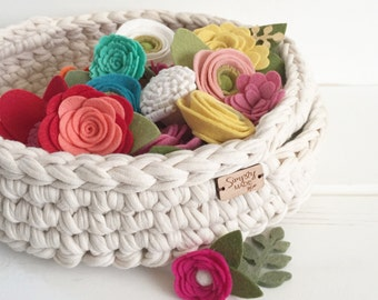 Crochet Basket with Handles / Crochet Storage Tray / Craft Room Decor / Living Room Decor / Rustic Home Decor / Dorm Decor