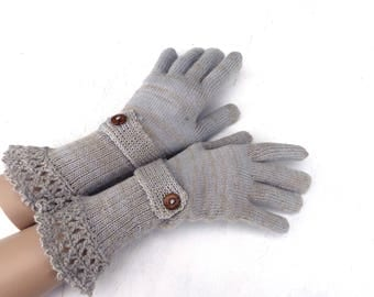 Knit full gloves, gloves with fingers,  gray brown gloves, knitting arm warmers, colorful spring gloves, handmade accessories, mittens