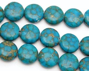 10% off Halloween SALE Jasper Disc Beads with Copper Accent - 10mm Blue Jasper Disc Beads - 1 STRAND (S55B10b-02)