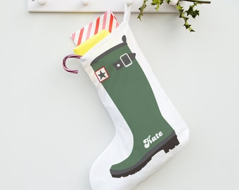 Personalised Welly Boot stocking - a twist on the traditional stocking for the outdoorsy type or gardener! Add any name for a unique gift