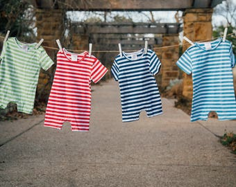 Boy's Custom Monogram Romper - 4 Color Choices - Summer outfit - Monogrammed Romper / Jon Jon- Shower gift - Summer Bubble