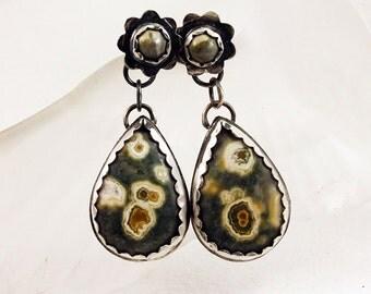 Silver Ocean Jasper Drop Earrings