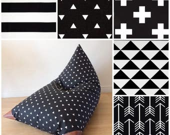 Choose Your Fabric! Kids Bean Bag - Pouf - Black and White - Printed Canvas and Leatherette Child Seat