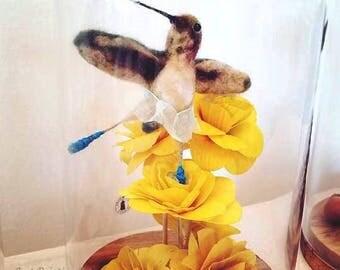 Needle Felted wool Dancing hummingbird,Allen's Hummingbird Sculpture,Gracy