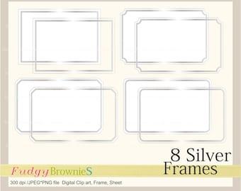 ON SALE Digital Silver frame, Line Frames rectangle Silver clipart, digital scrapbooking frames Silver A-2 , Silver frame, Instant download