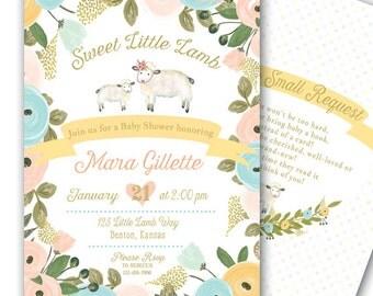 Little Lamb Invitation Baby Shower Birthday Pastel Gold Pink Blue 5x7 Printable  1st Birthday Little Lamb Baby Shower Invitation