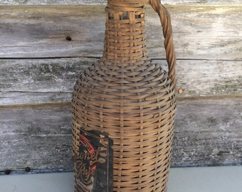 Vintage Demijohn Wicker Covered Bottle Whiskey Bottle Wine Bottle