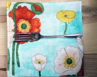 Light Blue Floral Cloth Dinner Napkins Reversible  Poppies in the Sky Eco Friendly Cotton Sustainable