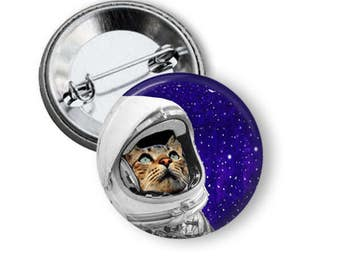 Astro Cat Pin Cute Astronaut Cat Button B16