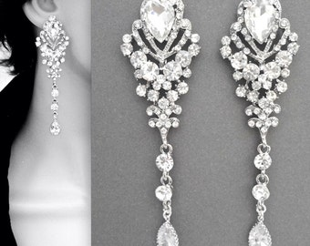Chandelier earrings ~ Long ~ Rhinestone earrings ~ Brides earrings ~ Wedding jewelry ~ Pageant earrings ~ Gorgeous statement earrings