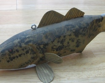 Handcarved  Folk Art Ice Fishing Decoy Signed Jim Durrance collectible