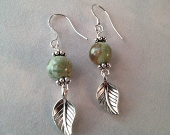 Green Rhyolite Silver Leaf Earrings SS Hooks