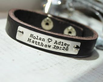 Leather Bracelet- Sterling Silver ID Bracelet- Hand Stamped Leather Bracelet- Personalized Bracelet- Medical Bracelet