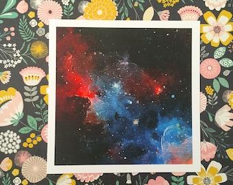 Nebula Space Age Square Archival Watercolor Gouache Print AP011Q