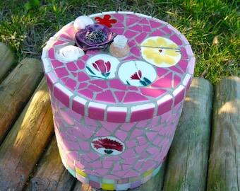 Boite à Bijoux en Mosaique - Rose Mosaic Jewelry Box - Broken Clay Mosaic