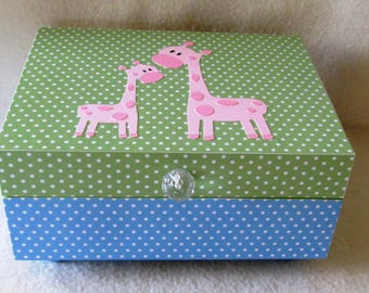 Baby Keepsake Box - Baby Memory Box - Mama and Baby Giraffe Keepsake Box - Blue Polka Dot - Green Polka Dot - Pink Memory Box -Giraffe -Gift